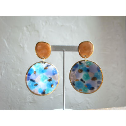 【2stones earrings orange,blue 】[PEKI!RARIGON]