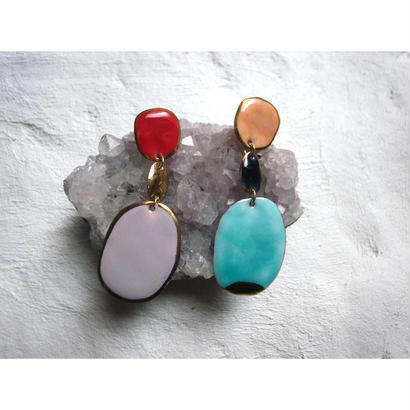 【3stones earrings Vivid】[PEKI!RARIGON]
