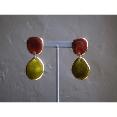 【2stone earrings  red green】[PEKI!RARIGON]