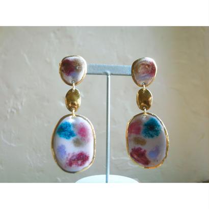 【3stone earring pink mud】[PEKI!RARIGON]