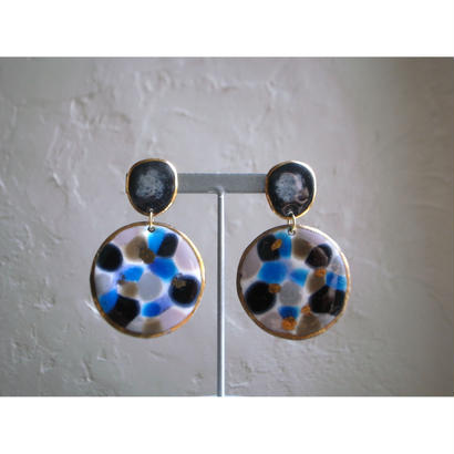 【2stones earrings blue ,black  】[PEKI!RARIGON]