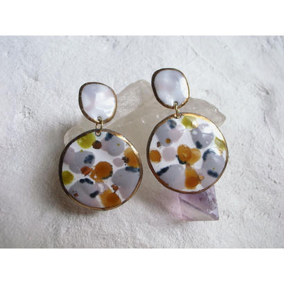 【2stones earrings gray,white,yellow,green 】[PEKI!RARIGON]