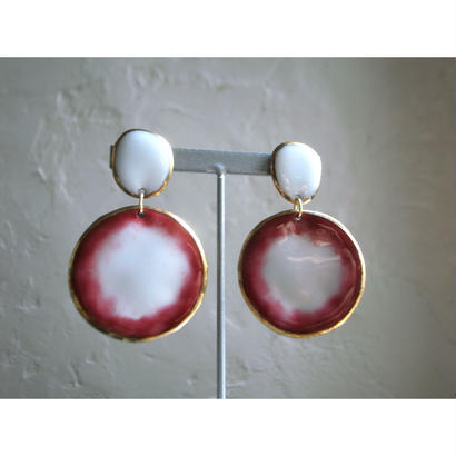 【2stones earrings white,red】[PEKI!RARIGON]