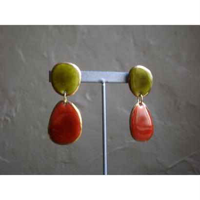 【2stones earrings green orange】[PEKI!RARIGON]