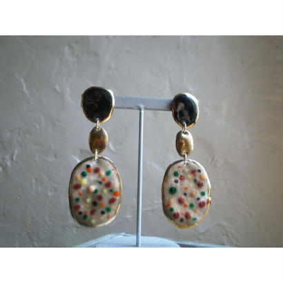 【3stones earrings black, gold, brown 】[PEKI!RARIGON]