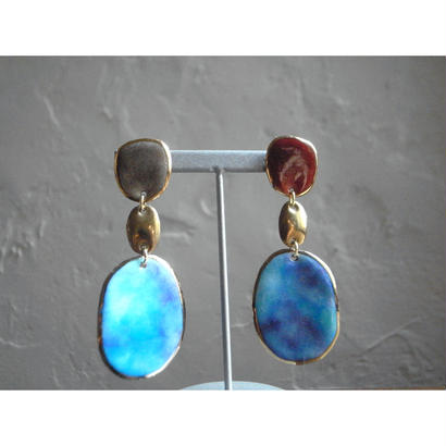 【3stones earrings Ocean】[PEKI!RARIGON]