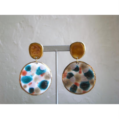 【2stones earrings yellow 】[PEKI!RARIGON]