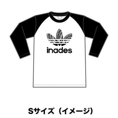 DJ-INAオフィシャルグッズ/inades  ラグラン長袖Tシャツ(ホワイトブラック)