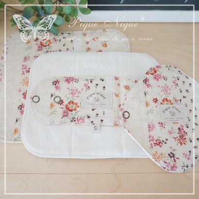 布ナプキン**Flower Lace Stripe*Pink×Orange*Lサイズ【2026】