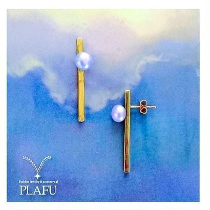 mizutama -earrings,pierce- purple pearl