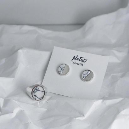 [silver925] Oval marble plate pierce