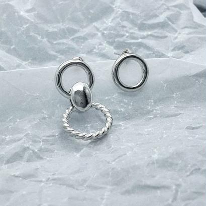 [silver925] Circle asymmetry pierce