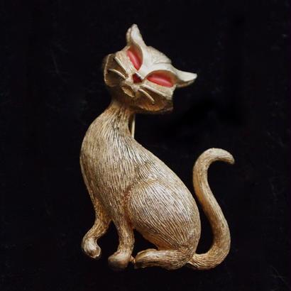JJ ヴィンテージブローチ  オレンジアイの猫