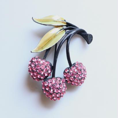 JJ / Jonette Jewelry company   ピンクのさくらんぼ/チェリーのヴィンテージブローチ