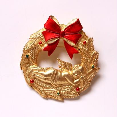 【再入荷しました!】JJ ヴィンテージブローチ エンジェルとクリスマスリース