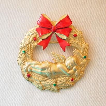 JJ ヴィンテージブローチ エンジェルとクリスマスリース