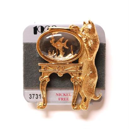 【再入荷しました!】1928 ヴィンテージブローチ 猫と金魚鉢 4 デッドストック