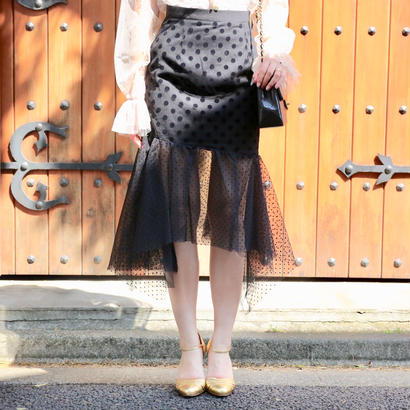 ドットデザインスカート ベージュ ホワイト ブラック