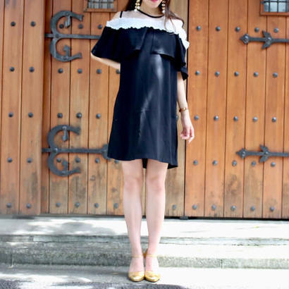 【SPRING SUMMER COLLECTION】バイカラーフリルシースルーワンピース ブラック
