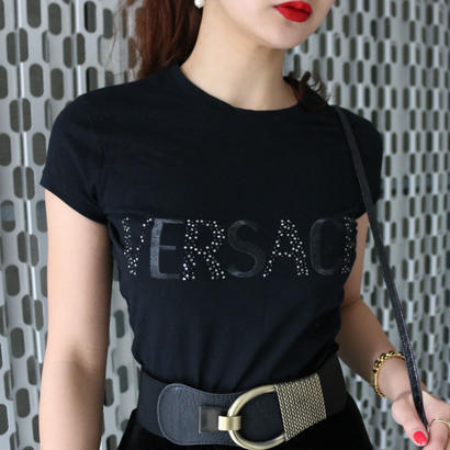 VERSACE ラインストーンロゴデザインTシャツ