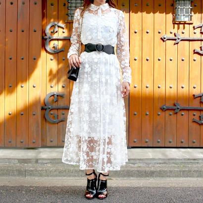 フラワーシースルードレス インナー付き ブラック ホワイト