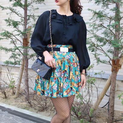 VINTAGE カラーデザインフレアスカート