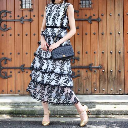 【SPRING SUMMER COLLECTION】リーフパターンノースリーブドレス ホワイト