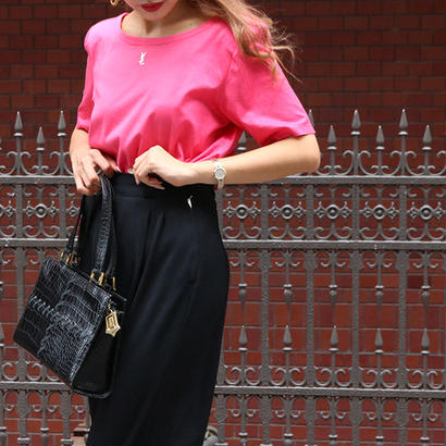 YVES SAINT LAURENT ラインストーンロゴTシャツ ピンク