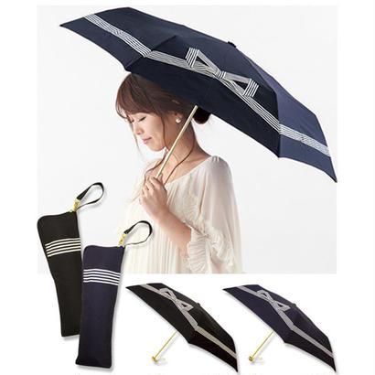 [pink trick / ピンクトリック] 折りたたみ傘 (雨傘/日傘) 雨晴兼用 テープリボン (UVカット&軽量) レディース 【取寄品】/300048