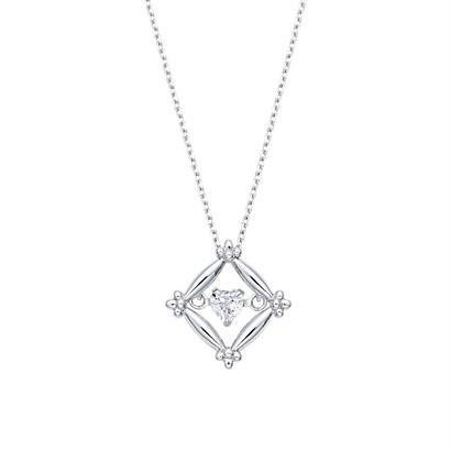 K10WG ハートシェイプカットダイヤモンドネックレス (ダンシングストーン)