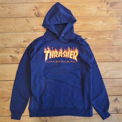 THRASHER FLAME LOGO HOOD - NAVY