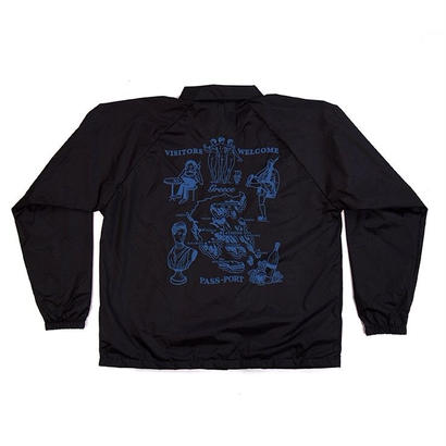 PASS~PORT - GREECE EMBROIDERY COACH JACKET - BLACK