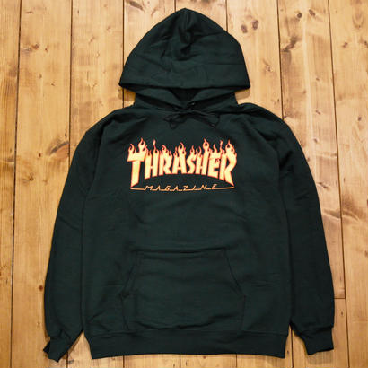 THRASHER Flame Logo Hood - Forest Green