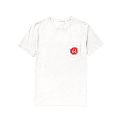 Tall Can Boyz STOP SNITCHIN POCKET TEE WHITE