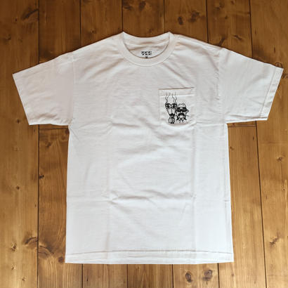 Tall Can Boys Double Barrel  Pocket Tee -White