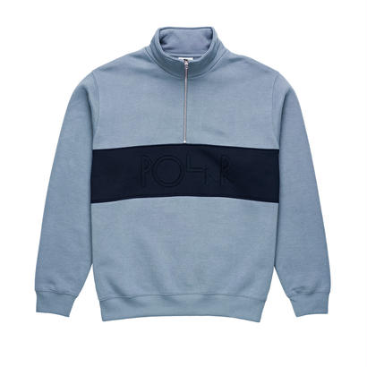 POLAR SKATE CO. BLOCK ZIP SWEATSHIRT DUSTY BLUE / NAVY