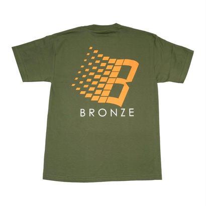 BRONZE56K B TEE SHIRT MILITARY GREEN/ORANGE/WHITE