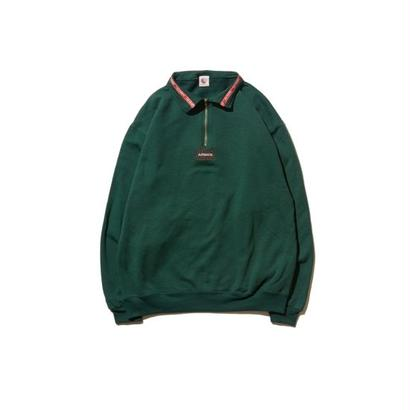 Hellrazor Authentic Neck Lining Half Zip Sweater - Hunter Green