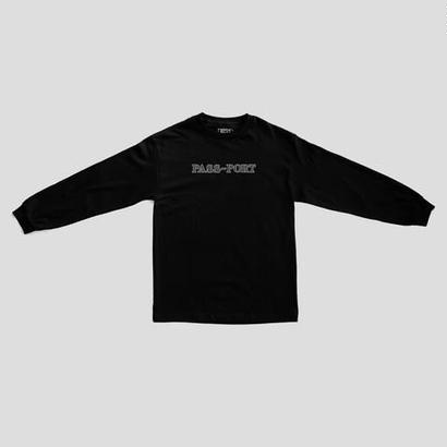 "PASS~PORT ""BRICK EMBROIDERY"" L/S TEE BLACK"