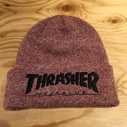Thrasher Embroidered Logo Beanie Maroon/Black