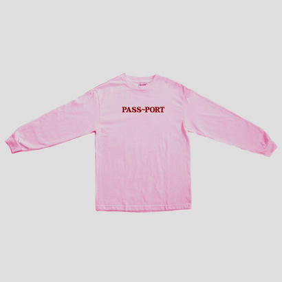"PASS~PORT ""OFFICIAL EMBROID"" L/S TEE PINK"