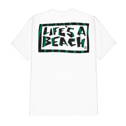 LIFE'S A BEACH Logo Jungle Tee White