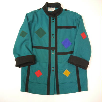 Mondrian pattern wool coat