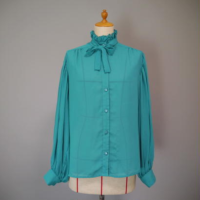 Stand collar frill blouse