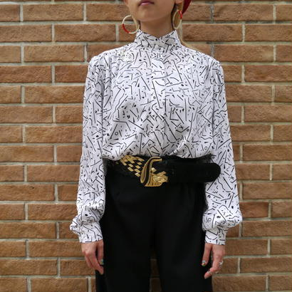 80's stand collar blouse
