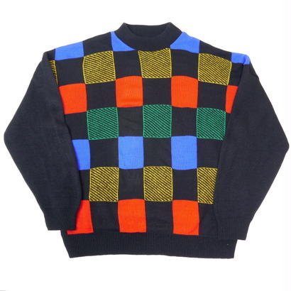 Colorful checkers mock neck knit