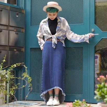 Denim fishtail skirt