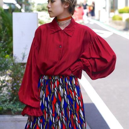 flare sleeve silk shirt