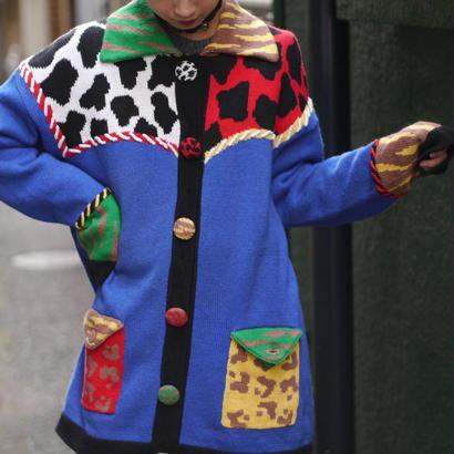 Crazy animal pattern knit cardigan
