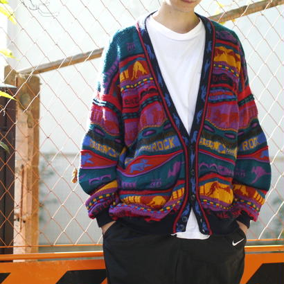 Animal pattern knit cardigan